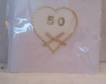"Handmade 50th Wedding Anniversary Card Size 6"" x 6"""