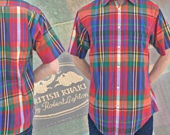 Vintage Men's British Khaki Plaid Shirt — S/M