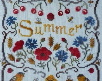 Summer (Eté) – a seasonal counted cross stitch chart. Chart and key in English or French.  6 colours of DMC or Gentle Art Threads. Summer.