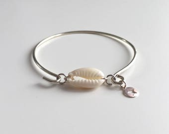 Off-white shell silver plated Bangle Bracelet