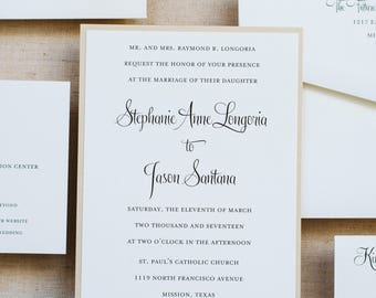 Classic Gold Wedding Invitation, Formal Wedding Invitation, Simple Wedding Invitation,  Elegant Invitation Suite | Stephanie & Jason
