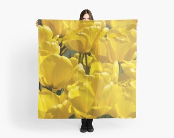 Yellow Tulip Scarf ~ Feminine Accessory ~ Bright Yellow Scarf ~ Yellow Flower Gift for Her, Floral Accessory, Garden Flower Photography