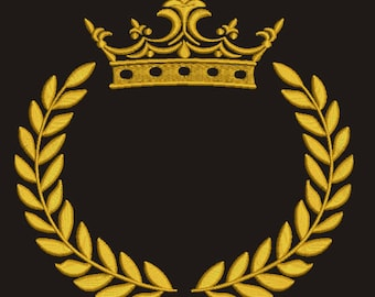 Crown and laurel wreath Machine Embroidery Design