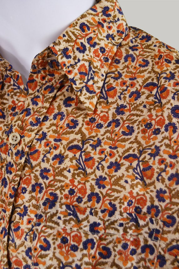 Woven Silk Hippie Print Shirt Vintage Clothing Floral 70s Shirt Hand Pattern Block INDIAN Pointed Men's Hippy Party SILK Men Shirt Collar qw0v8Hq