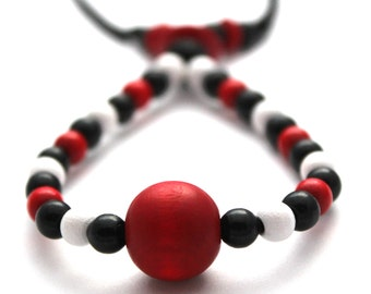 Fiddle necklace, babywearing necklace, nursing necklace,breastfeeding necklace, unique, handmade, red black and white wooden beads