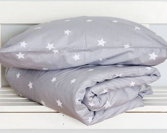 Little Stars Baby bedding / Toddler Bedding / Duvet cover and Pillow Case Set for Baby/Toddler Bed. Two Part Bedding Set. 100% Cotton.