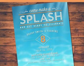 Splash Pool Party Printable Birthday Invite  - 4x6 or 5x7 digital design