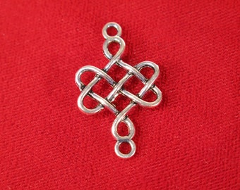 """BULK! 30pc """"chinese knot"""" connector charms in antique silver style (BC419B)"""