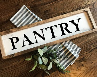 PANTRY farmhouse sign. Fixer Upper. Rustic. Modern Farmhouse. Primitive. Barn Wood. Reclaimed. Chalk Paint. Distressed sign. FREE SHIPPING