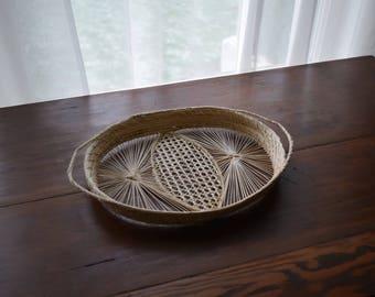Delicate Vintage Woven Basket / Tray - Boho, French Farmhouse, Natural, Folk