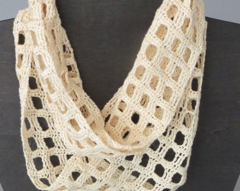 Crochet Windowpane Infinity Scarf