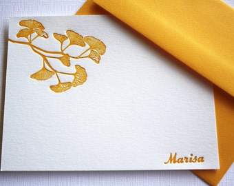 Golden Ginkgo Leaves Personalized Letterpress Stationery Mother's Day Gift