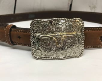 Brown leather cowboy western justin belt