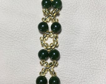 Emerald and crystal hugs and kisses beaded bracelet