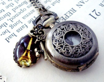 Clearance DISCONTINUED Antique Bronze Clocket - Polaroid Pocket Watch Locket/Necklace with Adornments - La Ville Lumiere