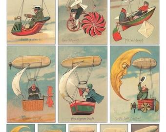 Unusual Blimps Collage Sheet - Humorous Vintage German Cards - Digital Download - Printable