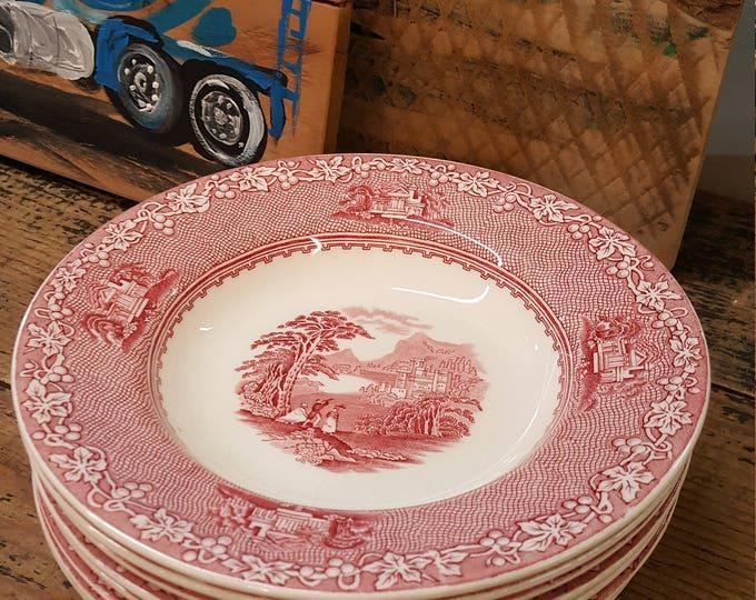 On Sale - Pink Jenny Lind Royal Staffordshire Transferware Vintage Set of 8 Rim Soup Bowls Salad Pasta
