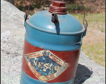 Vintage Nesco Galvanized gallon tin with pour - National Enameling & Stamping Company Inc. Nescoware