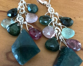 moss agate and tourmaline earrings