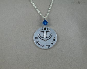 CLEARANCE - Refuse to Sink Anchor Charm Necklace - Silver Charm