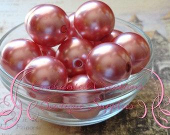 20mm Salmon Pink Acrylic Pearl Beads Qty 10