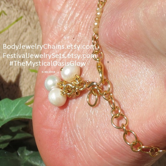 brass curb toe Sandals plated Crystal chain soldered Jewelry gold pearl ring foot Barefoot anklets jewelry Gold gold champagne slave Pearl Uxvt08w8