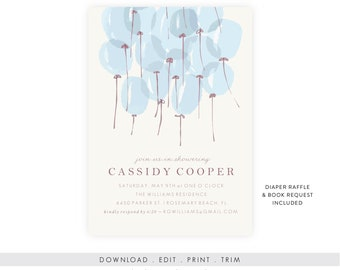 Baby Boy Shower Invitation | Baby Shower Invitation Boy, Baby Shower Template, Baby Shower Printable, Diaper Raffle, Book Request, PDF
