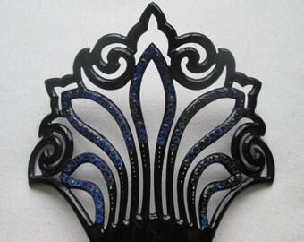 Art Nouveau Black Opaque Celluloid  Comb With Blue Stones Antique Haircomb