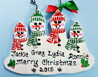 ORNAMENT Snowman Family of 4 Christmas U CHOOSE NAMES/Year Personalize Winter Hand Painted Handcrafted Wood Wooden