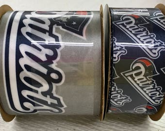 FREE SHIPPING- 2 Piece Ribbon Set - New England Patriots - NFL Licensed Offray Ribbon