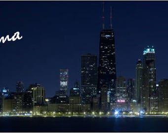 Chicago skyline with fireworks panorama