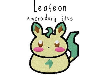 Pokemon Leafeon EMBROIDERY MACHINE FILES pattern design hus jef pes dst all formats Instant Download digital applique kawaii cute