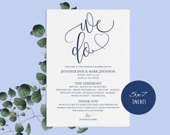 Navy Blue, Wedding Program Template, Rustic Wedding Ceremony Program, Instant Download PDF template, Kraft Wedding Program, LDS_140