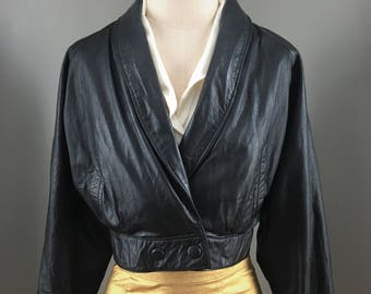 Vintage Cropped Wilsons Leather Jacket with Snap Closures - XS/S