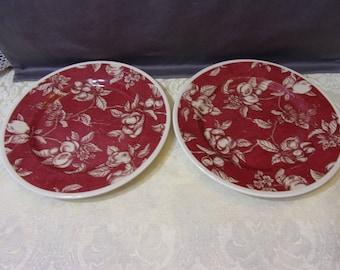 Set of Two (2) Waverly FRUIT TOILE Garden Room Salad Plates - Red White & Red toile plates | Etsy