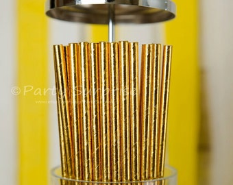 Gold Straws, Metallic Foil Gold Paper Straws, Wedding Straws, Shower Straws, Party Straws, Gold Straws,