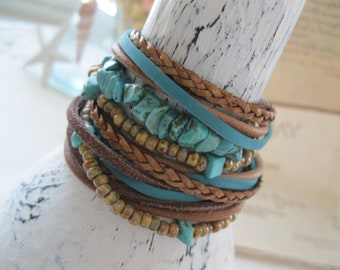 Boho Leather and Turquoise Chip Wrap Bracelet, Multi Strands of Leather and beads in shades of Natural  browns and turquoise gemstone beads