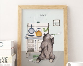 Bärlauch / 28 x 20 cm Print, Poster, Artprint, Kitchen, Illustration, Bear, Grizzly,