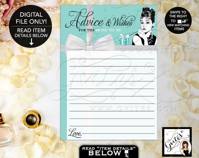 "Advice Cards Bridal Shower, Advice and Well Wishes, Printable Audrey Hepburn Party Theme, Blue, Breakfast at, 5x7"" 2 Per Sheet. Gvites"