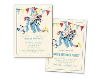 Digital DIY Vintage Baby Boy Shower Invitation Announcement Birthday Card / editable PDF / personalize it yourself / blue