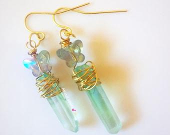 Quartz Crystal Point Butterfly Earrings, Angel Aura Quartz Crystal, Boho Jewelry, Wire wrapped Quartz, Healing Stone, Raw Quartz Crystal