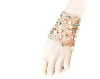 Wide Copper Cuff, Knitted Wire Cuff, Wire Crochet, Copper Bracelet, Peruvian Opal, Turquoise Jewelry, Fresh Water Pearls, by Durango Rose