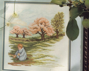 Cross Stitch Chart -SPRING ORCHARD - Victorian Boy in the Meadow - Pattern Needlework X-Stitch