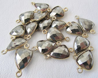 Pyrite Faceted Trillion Triangle Connector Links Gold PLated