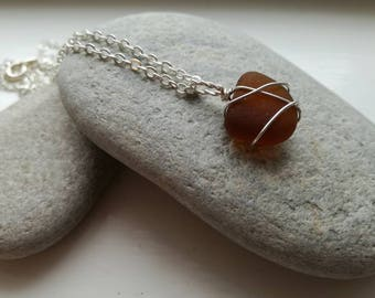 Handmade Amber Sea Glass Pendant Necklace