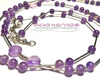 Long necklace with natural Amethyst and Ametrine, long necklace with natural stones, natural amethyst, natural ametrine, necklace magic gem