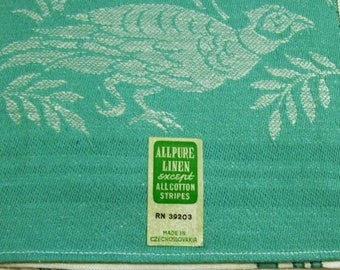 Vintage Towel, Linen Towel, Green and White, Made in Czechoslovakia, Birds, Pheasants,  New Old Stock, vintage kitchen, supplies