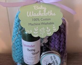 Handmade Cotton Washcloth Set with Bottom Balm & Baby Wash