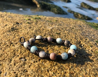 AMAZONITE LEATHER BRACELET; Beach Leather Bracelet; Sundance Bracele; Healing Stone Bead Bracelet; Braided Leather Bracelet
