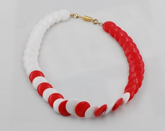 Unique Red & White Acrylic Bead Disk Mod Bright Statement Necklace